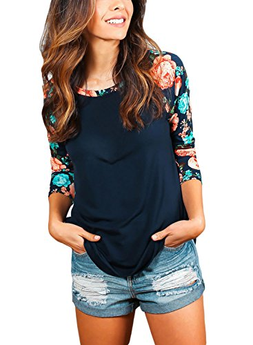 LOSRLY Women Floral Printed Crew Neck Half Bell Sleeve Blouse T- Shirt Plus Size-Black 18 20 3/4 Raglan Sleeve Crew Shirt