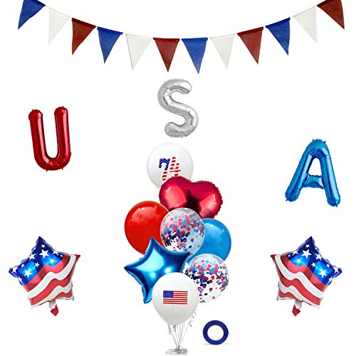 15PCS America 4th of July Independence Day Party Decorations Patriotic Party Supplies Pennant Flags Banner Foil Balloons Latex Balloons Set