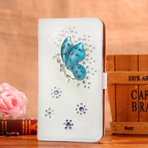 Locaa(TM) For Sony Xperia L S36h C2104 C2105 3D Bling Cases Luxury Crystal Pearl Diamond Rhinestone Eyecatching Beautiful Leather Retro Support bumper Cover Card Holder Wallet Case - [General series] crystal fairy