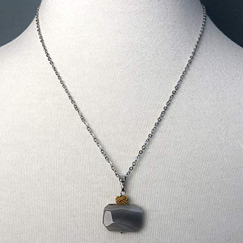 Octagon Faceted Botswana Agate Pendant Necklace for Comfort in ()