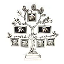 QTMY Metal Family Tree with 7 Hanging Picture Frames Collage Desk Stand Ornaments