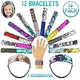 Mermaid Slap Bracelet 14 Pack Kids Party Favors For Birthday Christmas Gifts 12 Reversible Sequin Flip Wristband Snap Bracelet & 2 Headband Two Color Charm Sequins bracelets For Girls, Boys & Woman