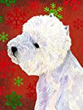 Caroline's Treasures LH9315CHF Westie Red and Green Snowflakes Holiday Christmas Canvas House Flag Review