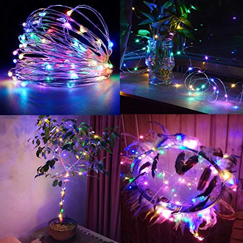 BXROIU 2 x Fairy String Lights with Timer Battery Operated Silver Wire 3 Mode Chains 16.5ft 50 LEDs Firefly String Lights for Bedroom Christmas Party Wedding Decoration (Multicolor)