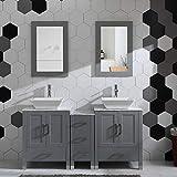 Grey 60' Bathroom Vanity Cabinet Double Sink Solid Wood w/Marbel Counter Top
