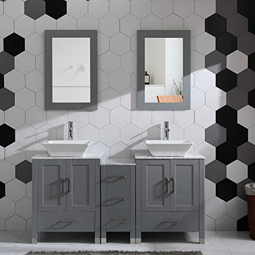 Solid Wood Vanity - Grey 60
