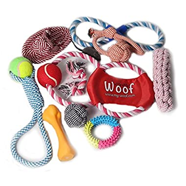 New!!! Woof dog toys, 12 pack of toys for aggressive chewers, tough dog toys for large and small dogs, indestructible pet toys, ropes, balls and more. 100% toxic free.