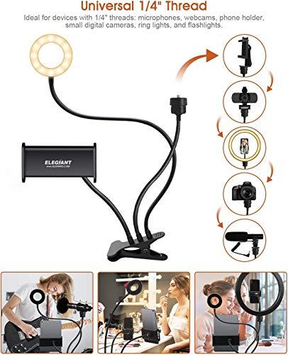 """Aro de luz con soporte universal de 1/4"""" para colocar cámara u otros dispositivos. Ideal para tutoriales de cocina."""