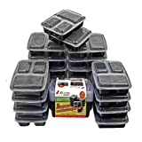 Meal Prep Containers by Xland Canada | Bento Box Food Storage Containers Bento Lunch Box Bento Box Set Meal Prep Lunch Box Divided Lunch Box | 3-Compartment Meal Prep Bento Boxes with Lids 20-Pack