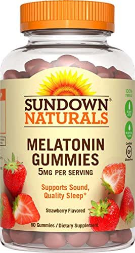 Sundown Naturals Melatonin 5 Milligram Gummies (Count 60), Strawberry Flavored, Supports Sound, Quality Sleep Non-GMO, No Artificial Flavors