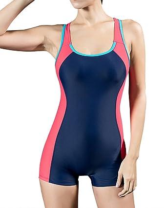 MISSMAO Badeanzug Sportbadeanzug Schwimmanzug Bademode Damen Einteilig mit  Verlängertem Bein Elastisch  Amazon.de  Bekleidung 1d5da3b893