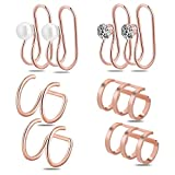 Ear Cuff,Valloey 4 Pairs 16G Stainless Steel Zircon Pearl Cartilage Hoop Non Piercing Earring Ear Clips