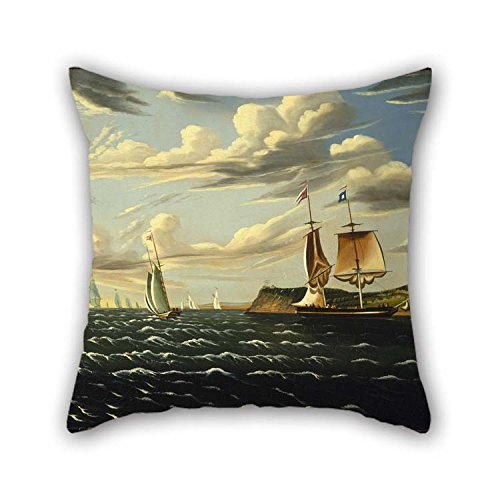 Pillow Shams Of Oil Painting Thomas Chambers - Staten Island And The Narrows 16 X 16 Inches / 40 By 40 Cm Best Fit For Pub Sofa Shop Home Office Dining Room Birthday Two Sides (Deer Island Staten)