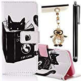 "Apple iPhone 6 Plus/ 6S Plus 5.5"" Case, Boince 3 in 1 Accessory Book Style Magnetic Snap PU Leather Flip Wallet Case + [Diamond Antidust Plug] + [Metal Stylus Pen] Anti Scratch Shockproof Full Body Skin Cover Protective Bumper-Cat and Book"
