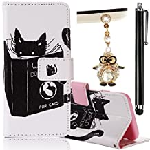 Samsung Galaxy Grand Prime G530 Case, Boince 3 in 1 Accessory Book Style Magnetic Snap PU Leather Flip Wallet Case + [Diamond Antidust Plug] + [Metal Stylus Pen] Anti Scratch Shockproof Full Body Skin Cover Protective Bumper-Cat and Book