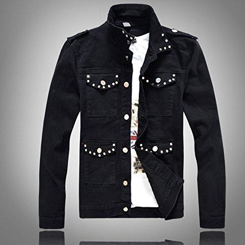 xl Uomo Rivetto Cowboy Di Coreana Nero Rivestire Jeans Denim Cappotto Lavata Uomini Camicia Versione wzrOHWqcw