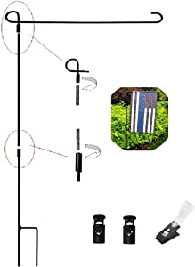 N-A Garden Flags Stand,Waterproof Outdoor Metal Flag Pole Holder,Iron Banner Stand with 1 Tiger Anti-Wind Clips and 2 Spring Stops(No Flag),Camping,Lawn,Yard,Park,Patio,Display Imaginative or Decor.