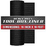 "Precision Defined Professional Grade Tool Box Liner, 16"" x 16 ft, Black   Non-Slip Thick Cabinet Shelf Liner"