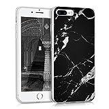 kwmobile Funda Apple iPhone 7 Plus / 8 Plus - Carcasa Protectora de [TPU] diseño de mármol clásico en [Negro Blanco]