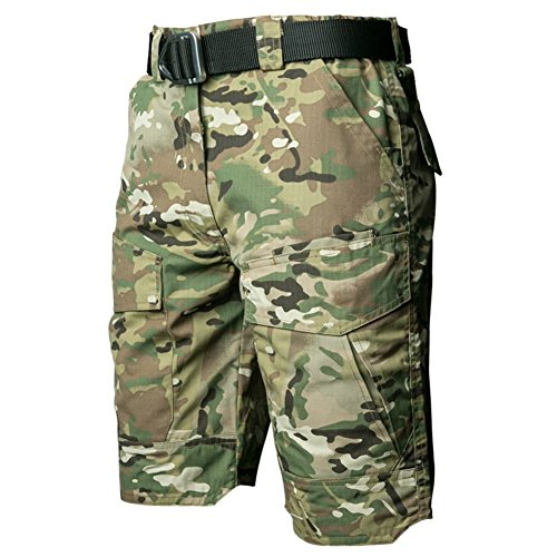 Camo Military Shorts - ReFire Gear Men's Urban Tactical Military EDC Cargo Shorts Rip Stop Cotton Outdoor Camo Shorts
