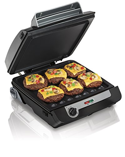 Hamilton Beach 25601 Indoor Grill & Electric Griddle Combo with Bacon Cooker, Double Cooking Surface, Removable Grilling Plates, Black and Silver