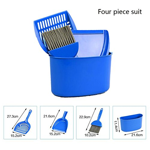 Pethouzz Cat Litter Scoop Plastic Non-Stick Scoop Pet Sand Shovel Cleaning Tool Four Piece Suit-Small Brush,Dustpan, Shovel Scoop and Barrel by PETHOUZZ