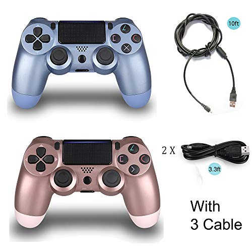 2 Pack Controller for PS4 with 3 Cable,Wireless Controller for Playstation 4 with Dual Vibration Game Joystick (Pink…