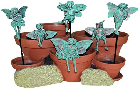 Homestyles Fairy Figurine Pot Sitters and Fairy Stake Assortment Fairies Set of 6 Different Poses 96260 Minature Garden Statue Bronze Patina