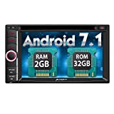 PUMPKIN Android 7.1 Car Stereo DVD Player Universal Double Din Octa Core with 32GB+ 2GB, GPS Navigation, WIFI, Support Android Auto, Backup Camera, 6.2 Inch Touch Screen, USB SD