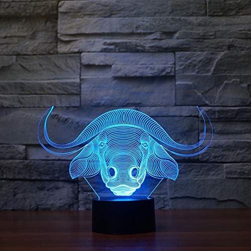 RMRM Veilleuse 3D Usb Visual Ox Pour Modéliser Bébé Chambre Sommeil Led Éclairage Décor À La Maison Enfants Toucher Bouton Bétail Bureau Lampe