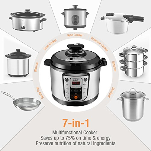 Housmile 6 Qt 8-in-1 Multi-Use Programmable Pressure Cooker, Slow Cooker, Rice Cooker, Sauté, Steamer, and Warmer by Housmile (Image #2)