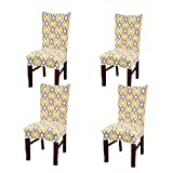 Stretch Dining Room Chair Slipcovers Spandex Fabric Removable Washable Chair Protector Cover for Dining Room, Hotel, Ceremony, Wedding, Party (Yellow, 4 Per Set)