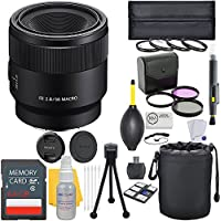Sony FE 50mm f/2.8 Full Frame E-Mount Macro Lens + Deluxe Lens Bundle