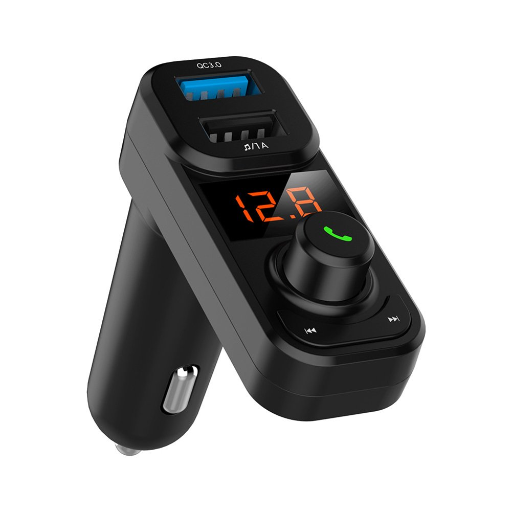 KANWAWO Wireless Car Bluetooth FM Transmitter, Bluetooth Car MP3 Player In-Car Stereo Radio Adapter Car Kit Hands Free Calling, Dual USB Car Charger With QC3.0 Quick Charge (Black QC 3.0)