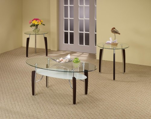 Coaster Home Furnishings Leskow 3-piece Occasional Table Set Cappuccino and Chrome ()