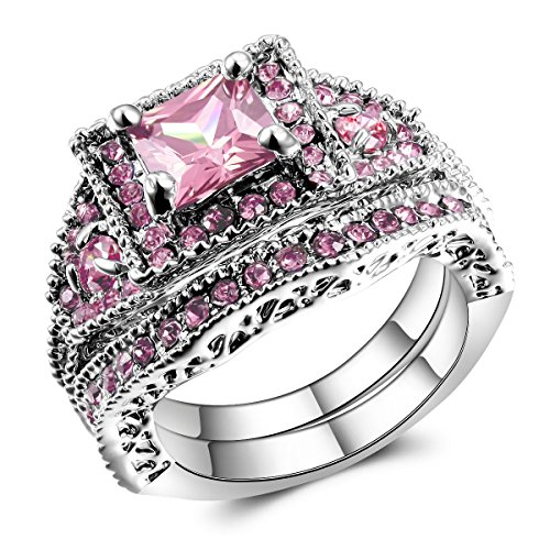 2 Pieces Pink Women's Engagement Wedding Rings Set US Size 5-11 (10)