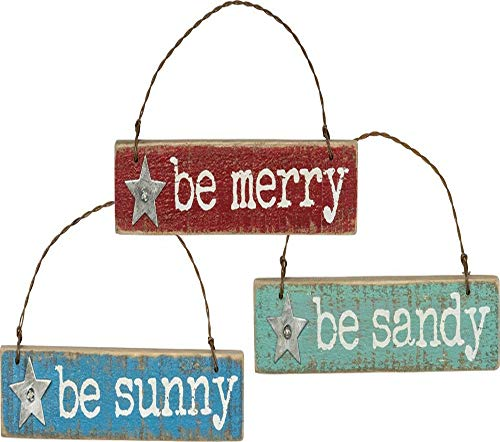 Primitives by Kathy Hanging Wooden Christmas Ornament Set, Be Merry, Sandy & Sunny