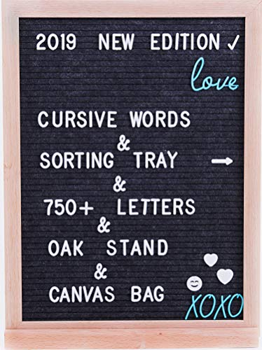 Grey Felt Letter Board - 12x16 ; 750+ Changeable Letters, Numbers and Emojis & Cursive Words ; Stylish Wood stand : FREE: Letters Organizer Box and Canvas Bag (Dark Gray)]()