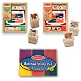 Melissa & Doug Wooden Stamps Sets: Baby Zoo Animals and Baby Farm Animals