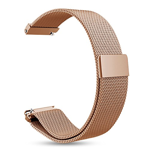 Fintie for Gear Sport/Galaxy Watch 42mm Band, 20mm Milanese Loop Adjustable Stainless Steel Replacement Strap Wrist Bands for Samsung Galaxy Watch 42mm, Gear Sport / S2 Classic Smartwatch, Rose Gold
