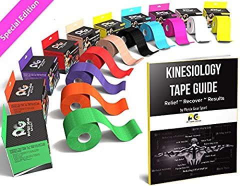 Kinesiology Tape (2 Pack or 1 Pack) Physix Gear Sport, 5cm x 5m Roll Uncut, Best Waterproof Muscle Support Adhesive, Physio Therapeutic Aid, Free 82pg E-Guide - PINK 1 - Hockey Wrist Guards