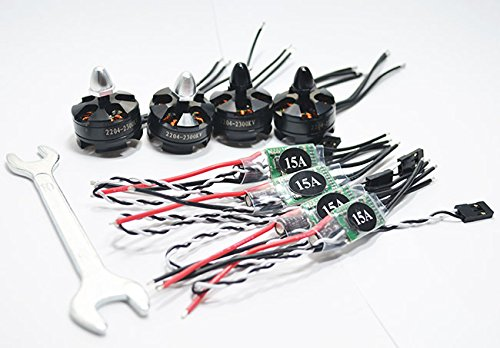 Hobbysky 4pcs 2300KV 2204 Brushless Motor CW/CCW & 4pcs SimonK 15A ESC for Quadcopter FPV Drones