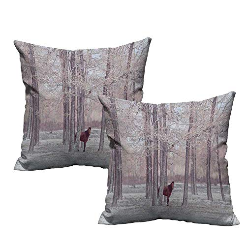 Woodland Panorama Bleach Wood - Acelik Equestrian Pillowcase Lonely Horse in The Forest Stands Behind Leafless Trees Winter Snowy Panorama Cushion Case for Sofa Bedroom Car 20