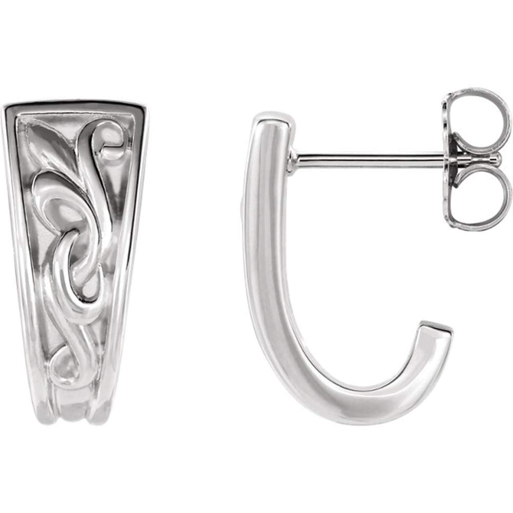 Eliana and Eli 14K White Vintage-Inspired J-Hoop Earrings