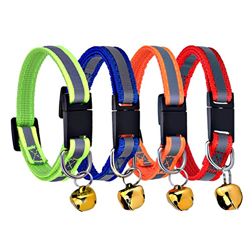 Mudder Reflective Safe Pets Collar Breakaway Safety Cat Dog Puppy Kitten Collars with Bells, 4 Colors, Adjustable Length 6 - 10 Inches