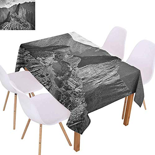 Marilec Polyester Tablecloth Black and White Aerial View of Peru Village Architectural Landmark Buildings Day Time Table Decoration W50 xL80 Black and White -