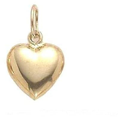 Awesome gold puffed heart pendant necklace best jewelry amazon 14k gold heart puffed sm yellow gold heart pendant aloadofball Image collections