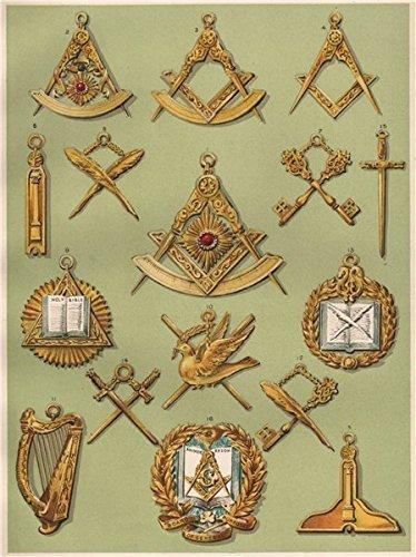 FREEMASONRY. Jewels of The Grand Officers of The Grand Lodge of Ireland - 1882 - old print - antique print - vintage print - Freemasonry art prints