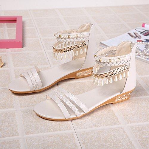 Malloom Sandalen, Damen Sommer Pearl Wedges Sandalen Flip Flop Casual Soft Beach Sandale Schuhe Weiß