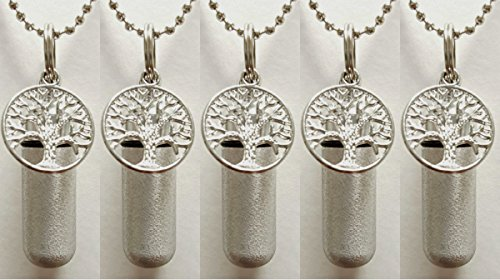 Family Set of 5 Brushed Silver TREE OF LIFE CREMATION URN Necklaces with LASER ENGRAVED HEARTS - Includes 5 Velvet Pouches, 5 Ball-Chains & Fill Kit - Misc Urn